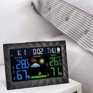 Station Météo Intérieure Extérieure Sans Fil Thermomètre Hygromètre Baromètre Avec Fonctions D'Alarme Snooze Calendrier de la marque junkai image 0 produit