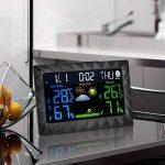 Station Météo Intérieure Extérieure Sans Fil Thermomètre Hygromètre Baromètre Avec Fonctions D'Alarme Snooze Calendrier de la marque junkai image 1 produit