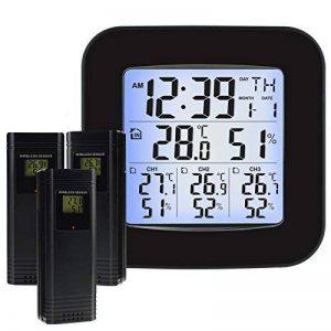 Station météo sans fil avec 3 capteurs extérieurs sans fil, horloge, alarme, température, humidité, affichage facile à lire avec rétro-éclairage LED de la marque TekcoPlus image 0 produit