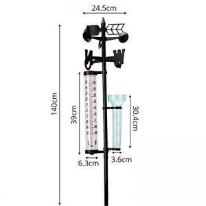 Station météo sans fil intérieur extérieur avec pluviomètre Montre de vitesse du vent intérieur solaroutdoor compteur de pluie + Thermomètre + indicateur de vent jardin Station meteoroló de la marque iBaste -1 image 0 produit