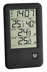 TFA Dostmann 30.3053 Malibu Thermomètre-hygromètre radio pour piscine, noir avec batteries de la marque TFA-Dostmann image 0 produit