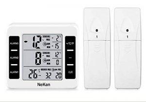 Thermomètre Intérieur NeKan Station sans fil intérieur, extérieur MIN / MAX Thermomètre Digital Alarme Sonore LCD Thermomètre pour °C / °F Commutateur réfrigérateur maison jardin Bureau Station Météorologique de la marque NeKan image 0 produit