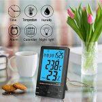 Thermomètre Interieur, PiAEK Thermomètre Hygromètre Numérique, Ecran LCD Moniteur Electronique de Température et Humidité, ℃/℉ Commutateur, Portable Taille Mini (Noir) de la marque PiAEK image 1 produit