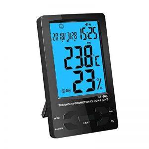 Thermomètre Interieur, PiAEK Thermomètre Hygromètre Numérique, Ecran LCD Moniteur Electronique de Température et Humidité, ℃/℉ Commutateur, Portable Taille Mini (Noir) de la marque PiAEK image 0 produit