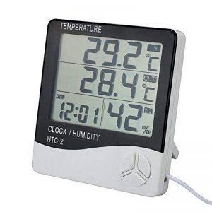 Thermomètre Hygromètre avec Sonde Intérieur et Extérieur pour Maison ou Bureau Réveil Alarm Numérique avec Écran LCD Digital Moniteur Température Humidité - Câble de Sonde 1.45 Mètres de la marque Tsumbay image 0 produit