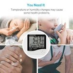 Thermomètre Hygromètre avec Sonde Intérieur et Extérieur pour Maison ou Bureau Réveil Alarm Numérique avec Écran LCD Digital Moniteur Température Humidité - Câble de Sonde 1.45 Mètres de la marque Tsumbay image 2 produit
