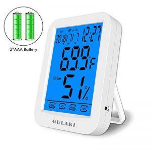 Thermomètre hygromètre numérique, Thermo-hygromètre d'affichage de la température d'humidité intérieure GULAKI avec plus grand écran tactile rétroéclairé, Surveiller la température et l'humidité pour le confort de la maison et du bureau, les enregistremen image 0 produit