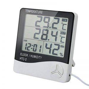 Thermomètre Intérieur Extérieur TH01S avec Sonde Hygromètre Alarme Digital Ércran LCD Affichage avec Température Humidité Date Idéal pour Maison Jardin Bureau Chambre Bébé - Câble 3m de la marque VADIV image 0 produit