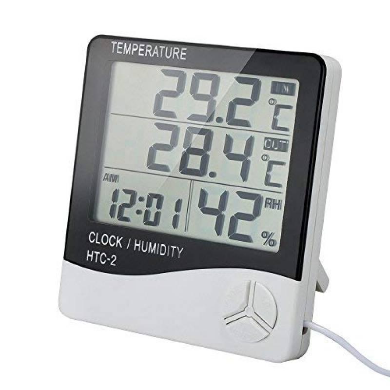 Fdit Thermom/ètre Air Temp/érature Humidit/é Portable LCD Num/érique Hygrom/ètre Int/érieur Ext/érieur Moniteur Jauge M/ètre Capteur Celsius//Fahrenheit pour Maison Salon Bureau