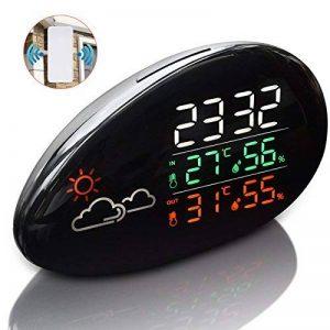 Thermomètre Station météo, réveil station météo numérique sans fil avec écran LED Intérieur humidité extérieure et moniteur de température Prévision météo universelle avec capteur extérieur (noir) de la marque TinMiu image 0 produit