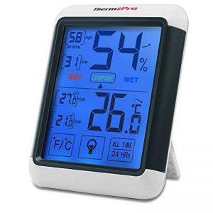 ThermoPro TP-55 Thermomètre Hygromètre Numérique, Rétroéclairage Bleu, Grand Écran LCD Tactile, Détecteur de Température/ Humidité Sans Fil de la marque ThermoPro image 0 produit