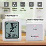 ThermoPro TP-60 Thermomètre Hygromètre Intérieur Extérieur, 60m à distance, Moniteur Température et Humidité Sans Fil, Grand Écran LCD, 4 Piles Fournies, Blanc/Gris de la marque ThermoPro image 3 produit