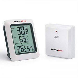 ThermoPro TP-60 Thermomètre Hygromètre Intérieur Extérieur, 60m à distance, Moniteur Température et Humidité Sans Fil, Grand Écran LCD, 4 Piles Fournies, Blanc/Gris de la marque ThermoPro image 0 produit