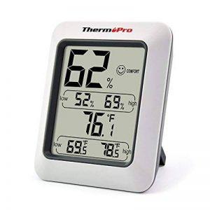 ThermoPro TP50 Thermo-hygromètre électronique, Thermomètre Hygromètre Intérieur sans fil, Écran LCD digital pour l'affichage de température et humidité, Mémoire de Max/Mini, Pile Fournie, Blanc de la marque ThermoPro image 0 produit