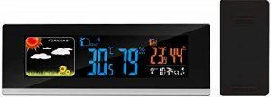 Think Gizmos, Station météo à écran couleur, sans fil, avec capteur intérieur/extérieur–Réveil, affichage des prévisions de la météo et de la température Extra Wide de la marque ThinkGizmos image 0 produit